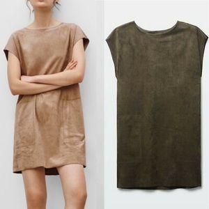 ARITZIA Nori Faux Vegan Suede Shift Dress Olive S